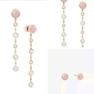 Michael Kors Rose Gold Rose & Quartz Drop Earrings